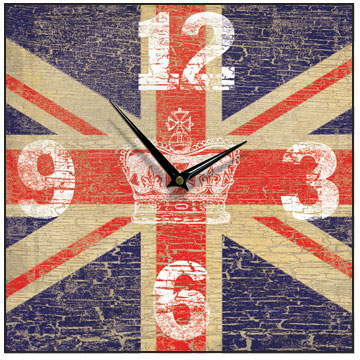 Union Jack Vintage Crown Square Wall Clock