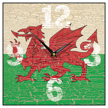 Welsh Flag Square Wall Clock