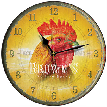 Brown's Poultry Feed Cockerel Wall Clock