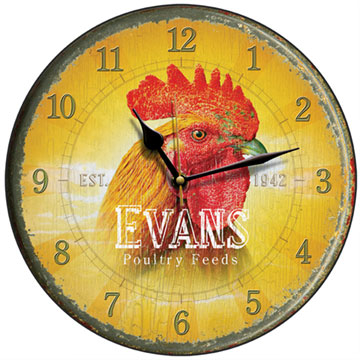 Evans Poultry Feed Cockerel Wall Clock