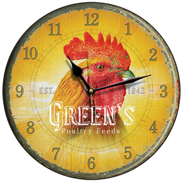 Green's Poultry Feed Cockerel Wall Clock