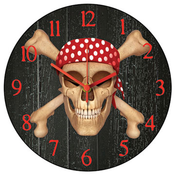Jolly Roger Round Wall Clock