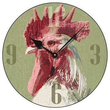 "Cockerel 14"" Round Wall Clock"