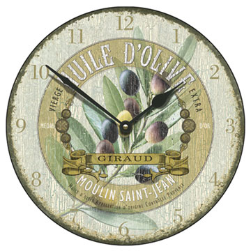 "Huile d'Olive Antique 18"" Large Wall Clock"