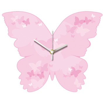 Pink Butterfly Shaped wall Clock