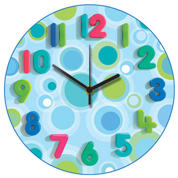 Blue Spots Too Round Wall Clock