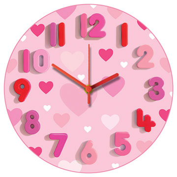 Pink Hearts Round Wall Clock