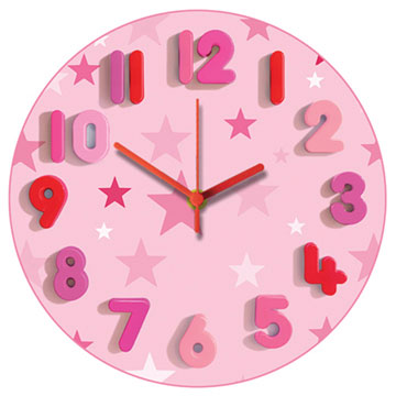 Pink Stars Too Round Wall Clock