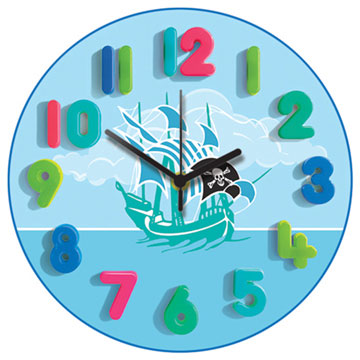Pirate Blue Round Wall Clock