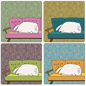 Cat on Sofa Set of 4 Square Coasters - Boxed