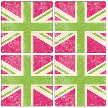 Union Jack Pink & Green Set of 4 Square Coasters - Boxed