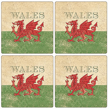 Welsh Flag Set of 4 Square Coasters - Boxed