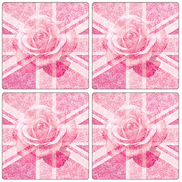 Union Jack Pink Rose Set of 4 Square Coasters - Boxed
