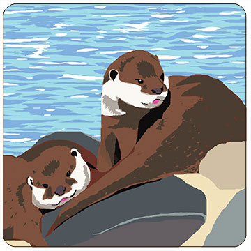 Perkins & Morley Otters Wildlife Square Coaster