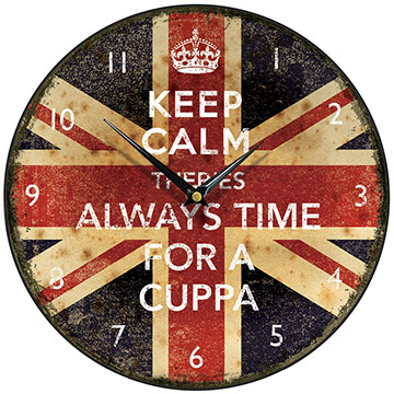 Keep Calm Always Time for a Cuppa Round Wall Clock