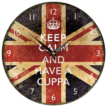 Keep Calm and Have a Cuppa Round Wall Clock