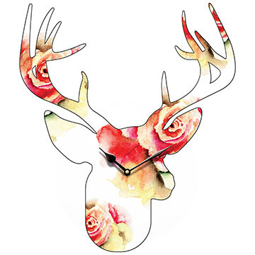 Stag Head Large Flower Pattern Shaped Wall Clock