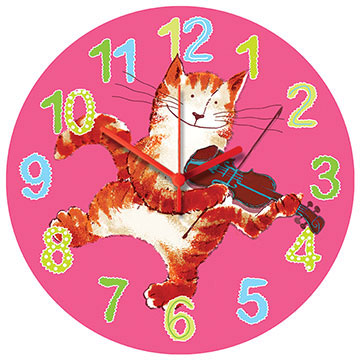 Cat and Fiddle Pink Wall Clock