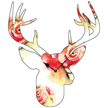 Stag Head Large Flower Pattern 700mm Shaped Wall Clock