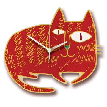 Red Cat Shaped Wall Clock